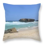 White Sand Beaches, Waves And A Rock Formation In Aruba Throw Pillow