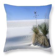White Sands Dune And Yuccas Throw Pillow