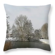 White Vision Around Canals Throw Pillow