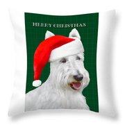 White Scottish Terrier Christmas Plaid Throw Pillow