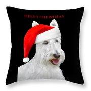 White Scottish Terrier Dog Christmas Card Throw Pillow