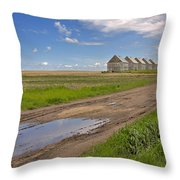 White Sheds On A Prairie Farm In Spring Throw Pillow