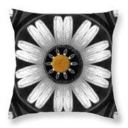 White Shimmering Flower Throw Pillow