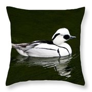 White Smew  Duck On Silver Pond Throw Pillow