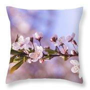White Spring Flowers Throw Pillow