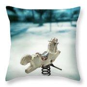 White Spring Horse Throw Pillow
