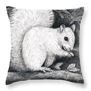 White Squirrel Throw Pillow