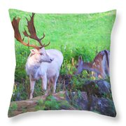White Stag And Hind 2 Throw Pillow