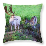 White Stag And Hind Throw Pillow