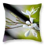 White Stem Flowers Throw Pillow