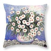 White Straw Flowers Two Throw Pillow