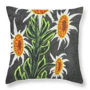 White Sunflowers Throw Pillow