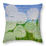 White Sunflowers, Painting Throw Pillow