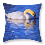 White Swan Drinking Water In A Pond Throw Pillow