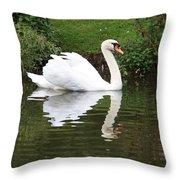 White Swan In Belgium Park Throw Pillow