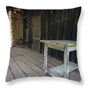 White Table On Porch Throw Pillow