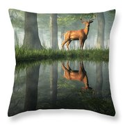 White Tailed Deer Reflected Throw Pillow