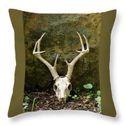 White-tailed Deer Skull In The Woods Throw Pillow