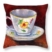 White Tea Cup With Yellow Flowers Grace Venditti Montreal Art Throw Pillow