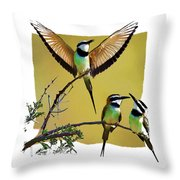 White Throated Bee Eater Pf Throw Pillow