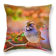 White Throated Sparrow - Digital Paint 3 Throw Pillow