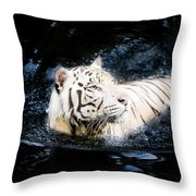 White Tiger 21 Throw Pillow