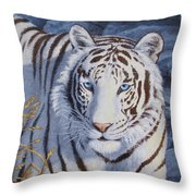 White Tiger - Crystal Eyes Throw Pillow