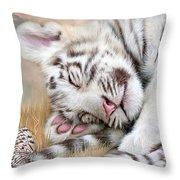 White Tiger Dreams Throw Pillow by Carol Cavalaris