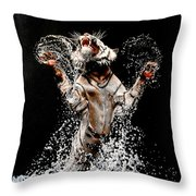 White Tiger Jumping In Water Throw Pillow