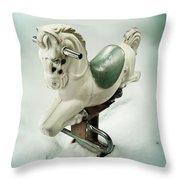 White Toy Horse Throw Pillow