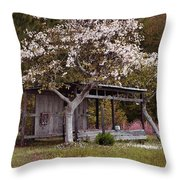 White Tree And Old Barn Throw Pillow