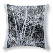 White Tree Black Night Throw Pillow