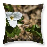 White Trillium Throw Pillow