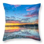 White Trout Lake Sunset - Tampa, Florida  Throw Pillow