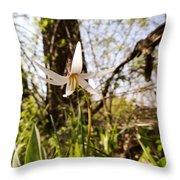 White Trout Lily Throw Pillow