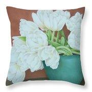White Tulilps In Blue Vase Throw Pillow