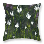 White Tulip Garden Throw Pillow