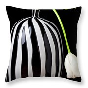 White Tulip In Striped Vase Throw Pillow