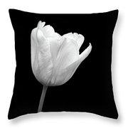 White Tulip Open Throw Pillow