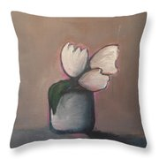 White Tulips - Abstract Art Throw Pillow