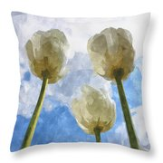 White Tulips And Cloudy Sky Digital Watercolor Throw Pillow