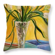 White Tulips In Cut Glass Throw Pillow