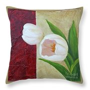 White Tulips Throw Pillow by Phyllis Howard