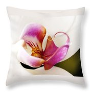 White Veil Orchid Throw Pillow