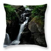 White Water Black Rocks Throw Pillow