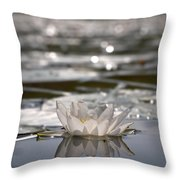 White Waterlily 3 Throw Pillow