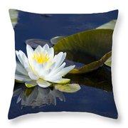 White Waterlily Throw Pillow