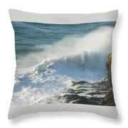 White Wave Sprays Throw Pillow