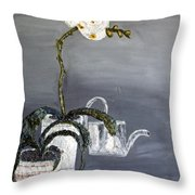 White Wild Orchid Throw Pillow