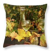 White Wine And Grape In Vineyard Throw Pillow